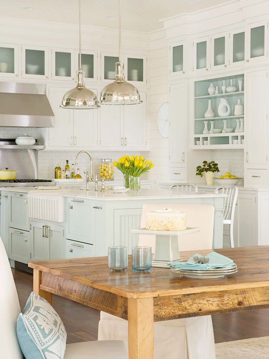 cottage, all white kitchen, glass fronts, rustic farmhouse: