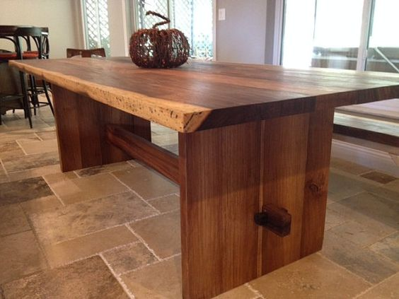 Solid Wood Slab Trestle Table, Live Edge, Made From Exotic