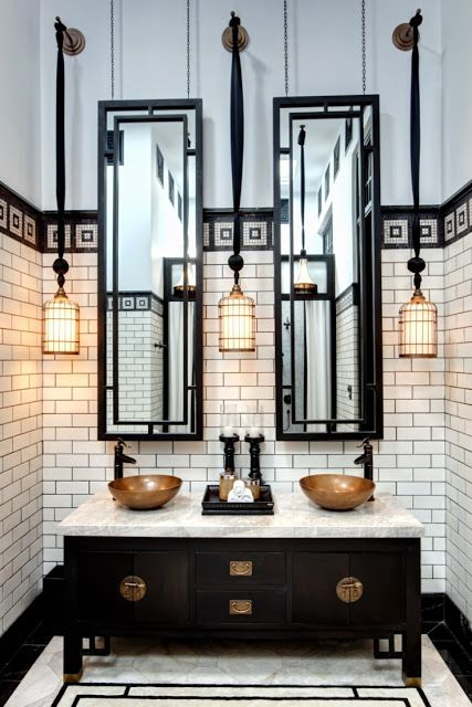 deco / chinoiserie feel. i could live without those basins but some cool details here.:
