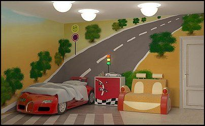 Wish I had this mural idea when he still had his race car bed!: