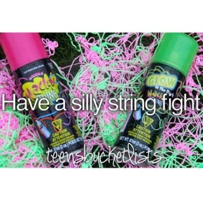 RELATIONSHIP BUCKET LIST: Having a silly string fight with the man I love. - Date Completed::