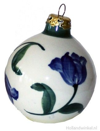 Christmas delftblue ornament Tulip blue/green: