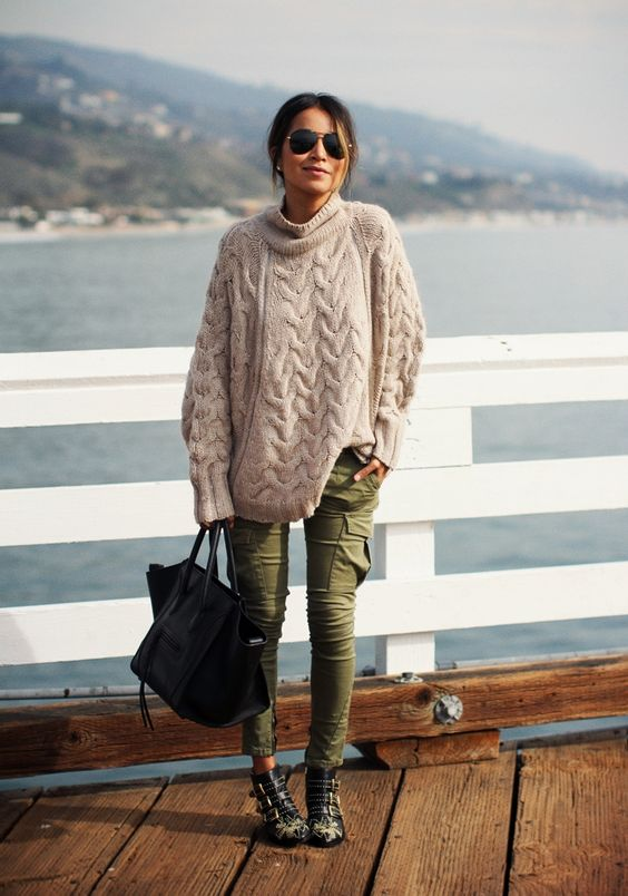 FREE PEOPLE knit sweater, skinny cargo jeans, CHLOE susanna boots - Sincerely Jules http://FashionCognoscente.blogspot.com: