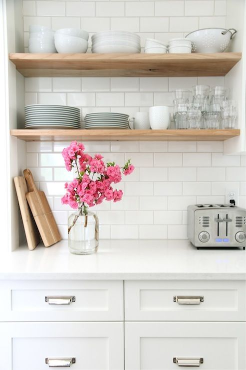 wood open shelves, white kitchen: