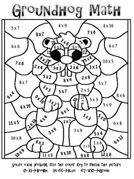 multiplication groundhog day and color by numbers on pinterest
