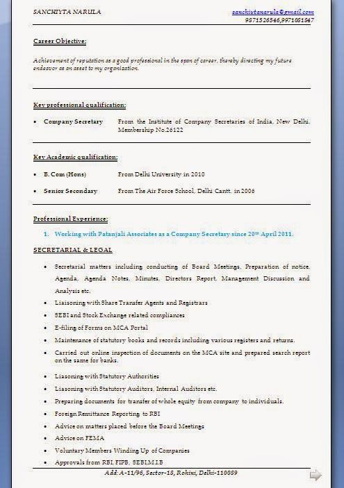 chronological resume template company secretary and cv format on