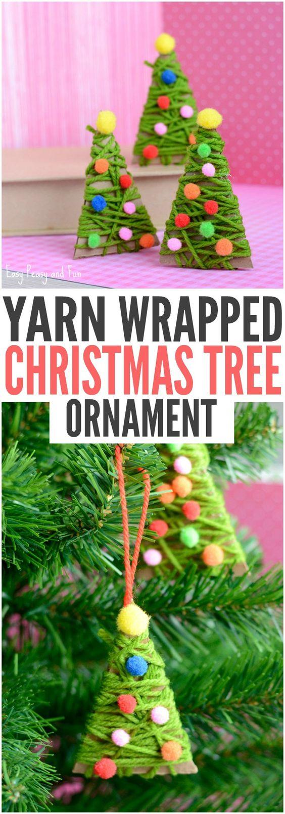 Yarn Wrapped Christmas Tree Ornaments Christmas trees