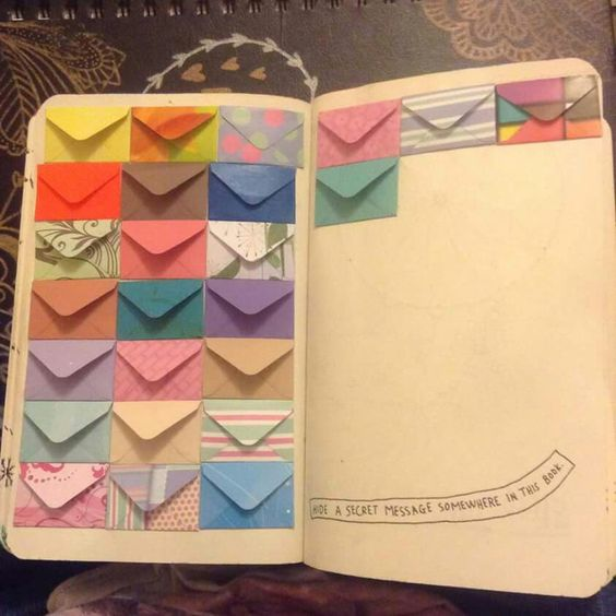 Wreck this journal, hide a secret message somewhere in yhis book, envelope page....♥: