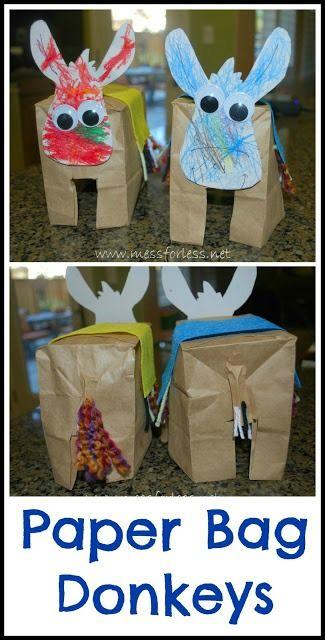 Paper Bag Donkeys - Donkey Crafts for Kids   Mess For Less: