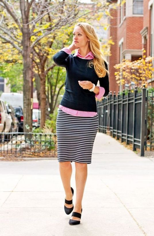 A pencil skirt is perfect for a preppy outfit!