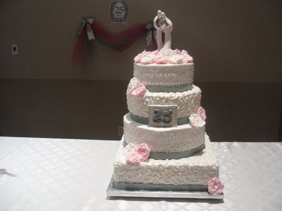 Red And White Dress, Wedding Anniversary Cakes And 25th