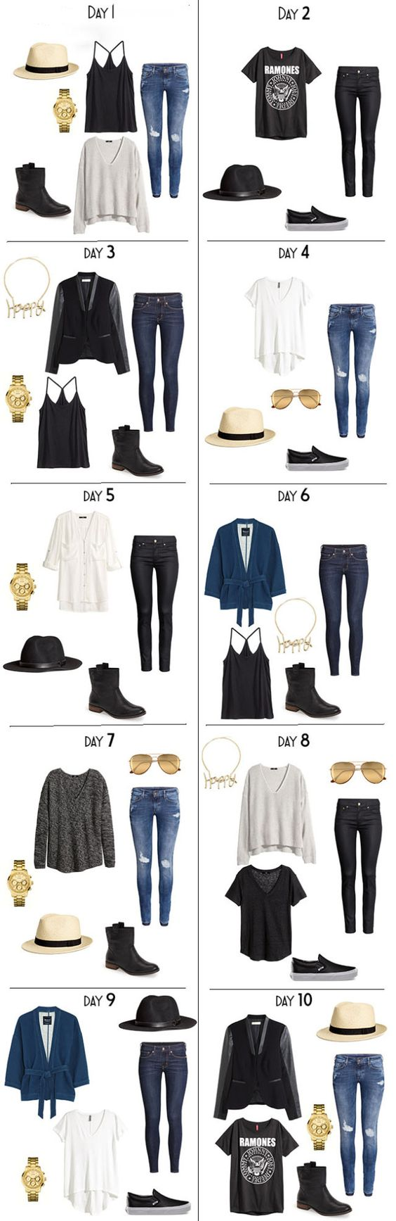 10 Days Days worth of outfits for a fall vacation packing list. The entire list is on the blog. #packinglist #packinglight #travellight #travelwardrobe: