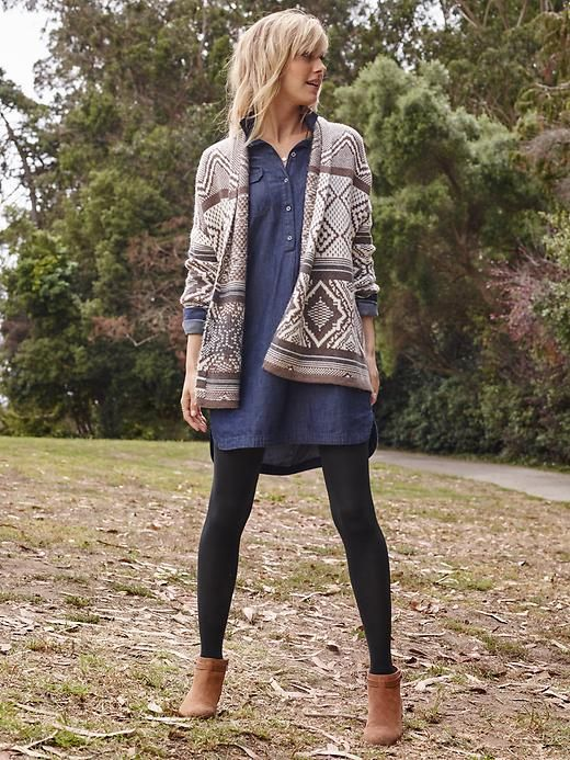 Chambray tunic, tights, cardi | Old Navy: