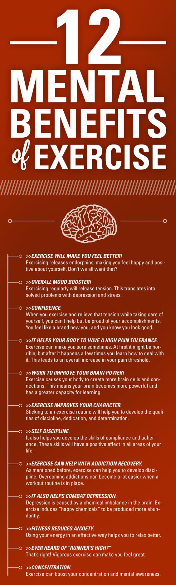 Mental Benefits of Exercise Infographic #health #infographic #exercise #benefits #workout #fitness #healthfacts: