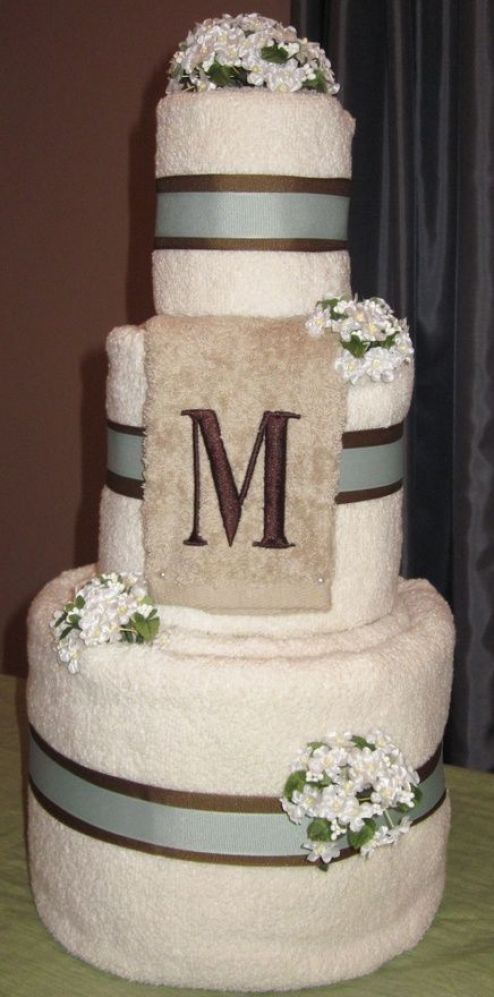 Wedding Towel Cake. Gift for a bridal shower. Personalized with monogram and color scheme. creative-ideas: