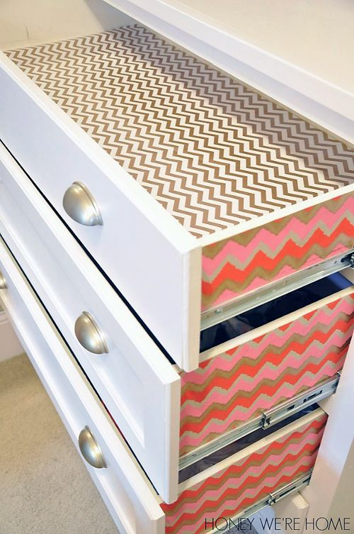 IHeart Organizing: UHeart Organizing: Making Up Pretty Organization. Use wrapping paper to line drawers.: