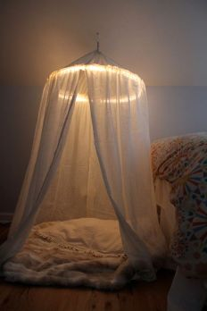 DIY lit play tent/reading nook! I'll have room when she doesn't need her rocker anymore.: