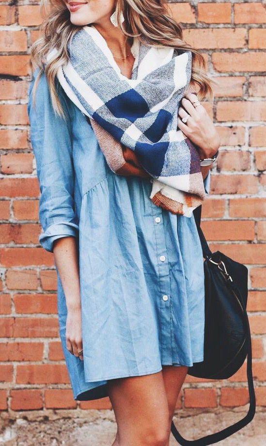 Denim dress + blanket scarf: