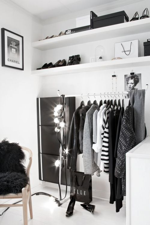 Closet Organization Black and White Monochromatic Shelves Lighting Artwork Shoes