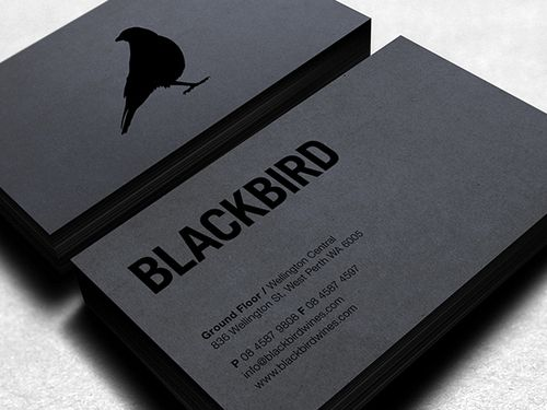 Black business cards with spot uv