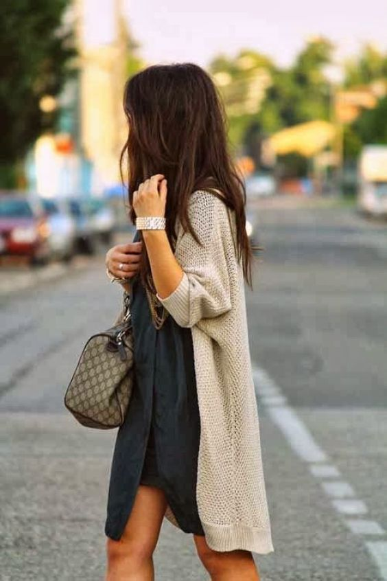 navy dress + long cardigan: