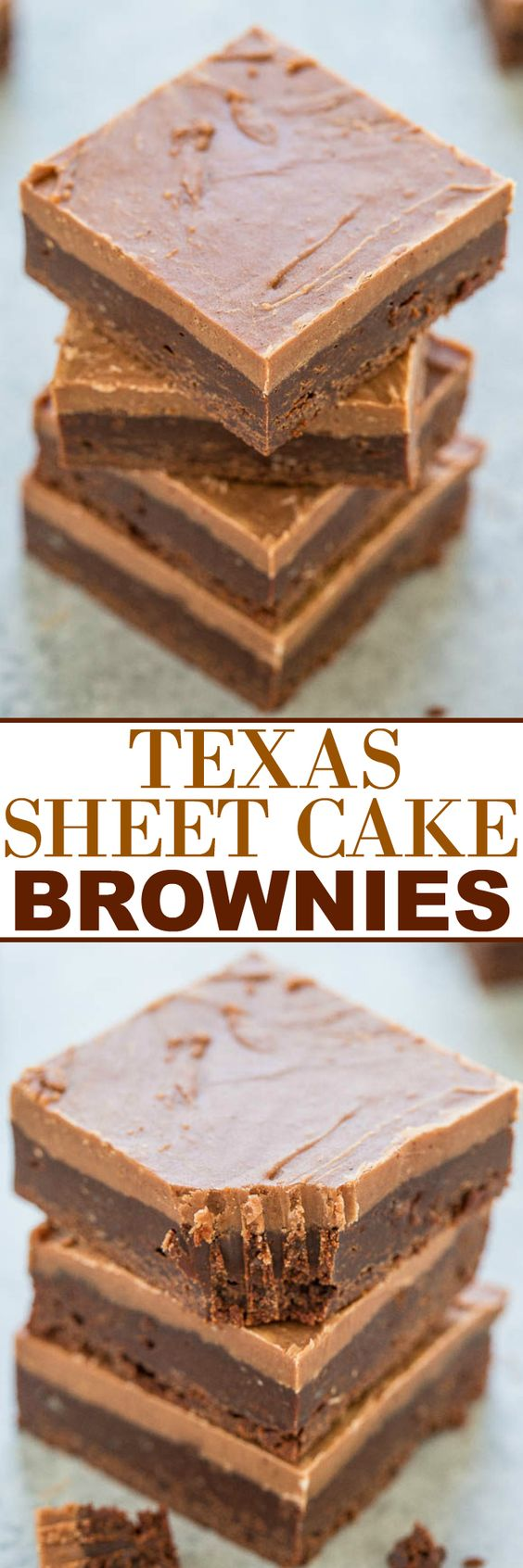 Texas Sheet Cake Brownies Dessert Recipe via Averie Cooks - Easy, FUDGY, no mixer brownies that are rich, chocolaty and decadent!! The classic Texas sheet cake frosting makes them totally IRRESISTIBLE!! The Best EASY Sheet Cakes Recipes - Simple and Quick Party Crowds Desserts for Holidays, Special Occasions and Family Celebrations