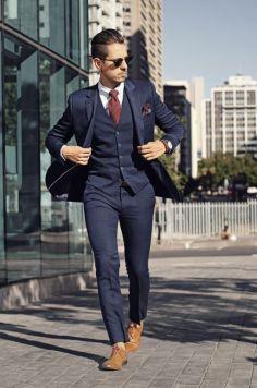 Mens fashion: 3 piece navy suit, burgundy tie, paisley pocket square, tan oxfords: