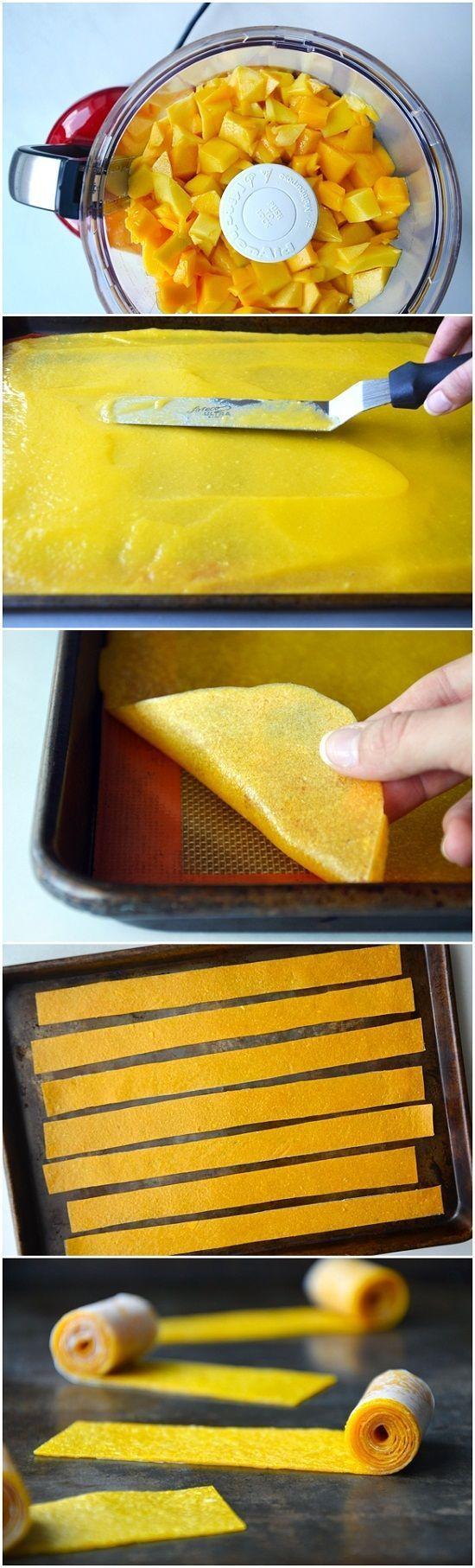 Healthy Homemade Mango Fruit Roll-Ups: