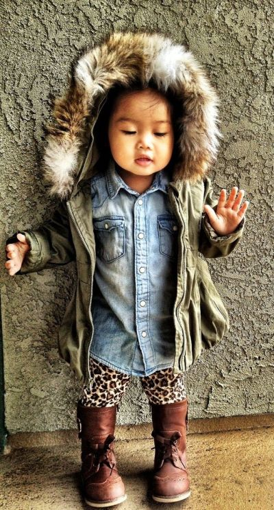 Children's Fashion Winter Look Old Navy Denim Shirt Faux Fur Anorak Leopard Leggings Wingtip Boots