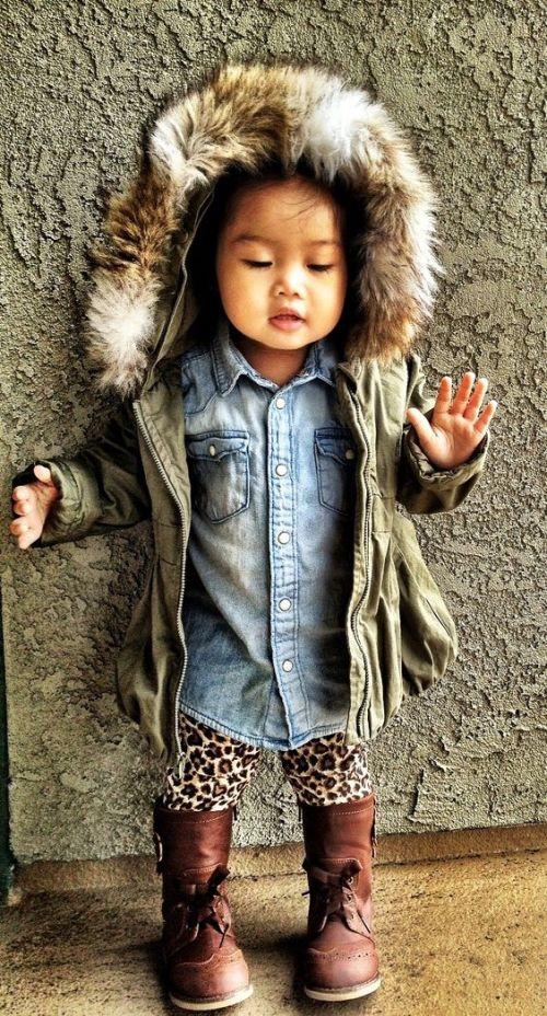 Children's Fashion Winter Look Old Navy Denim Shirt Faux Fur Anorak Leopard Leggings Wingtip Boots