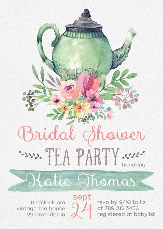 Tea Party Bridal Shower Invitations Etsy – Tea Party Bridal Shower Invitations