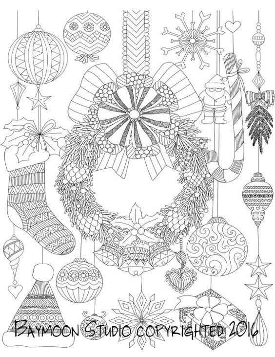Hanging Christmas Wreath Coloring Page, Printable Coloring