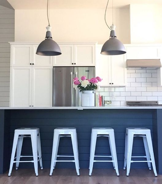 shiplap island + bright white stools: