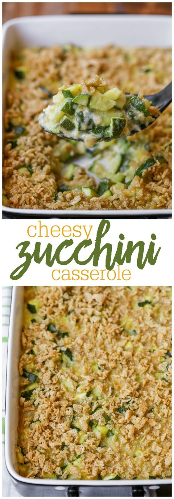 Cheesy Zucchini Casserole Vegetable Side Dish Recipe via lil' luna - a simple and delicious side dish made with zucchini pieces, cheese, butter and crushed Chex! It's so good!
