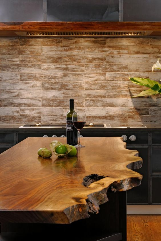 Luxury Looking to make a statement with your kitchen island Think about going ulive edge u This live edge walnut kitchen island counter top is a show stopper