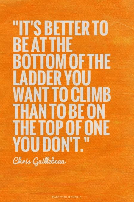 """It's better to be at the bottom of the ladder you want to climb than to be on the top of one you don't."" - Chris Guillebeau:"