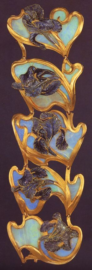 Lalique 1897-99 signed 'Irises' Bracelet in 5 sections: each section is a purplish-blue champlevé enamel & gold iris on a carved opal background: the flower's gold stem rims the shaded panel. Private collection: NY: