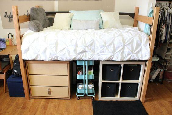 Dorm Room. Storage under bed.: