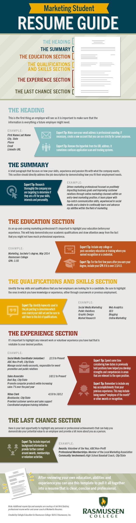 Resume, Student resume and Marketing on Pinterest
