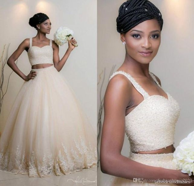 Champagne Beaded Two Piece Africa Wedding Dresses 2017 Spaghetti Strap Soft Tulle Skirt Plus Size Wedding Dress Sexy Bridal Gowns On SALE Wedding Dresses Africa Wedding Dresses Two Piece Wedding Dresses Online with 188.58/Piece on Fashionhouse2020's Store | DHgate.com: