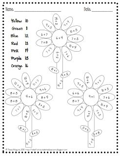 addition and subtraction color by numbers and numbers on pinterest
