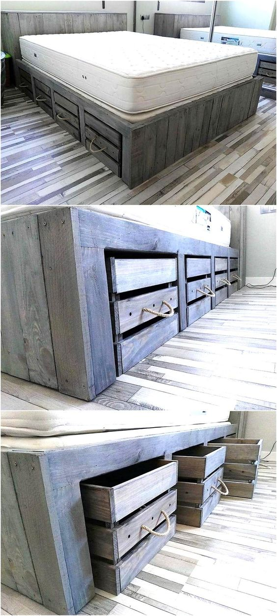 DIY Rustic Look Giant Pallet Bed with Storage Tutorial   Wood Pallet Furniture