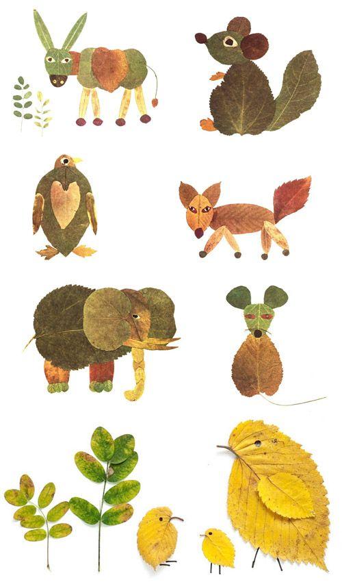 Tiere aus Blättern: