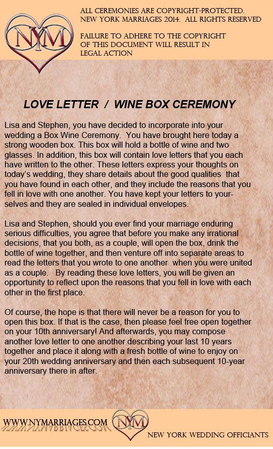 Wine Box Love Letter Ceremony, Sample Wedding Ceremonies