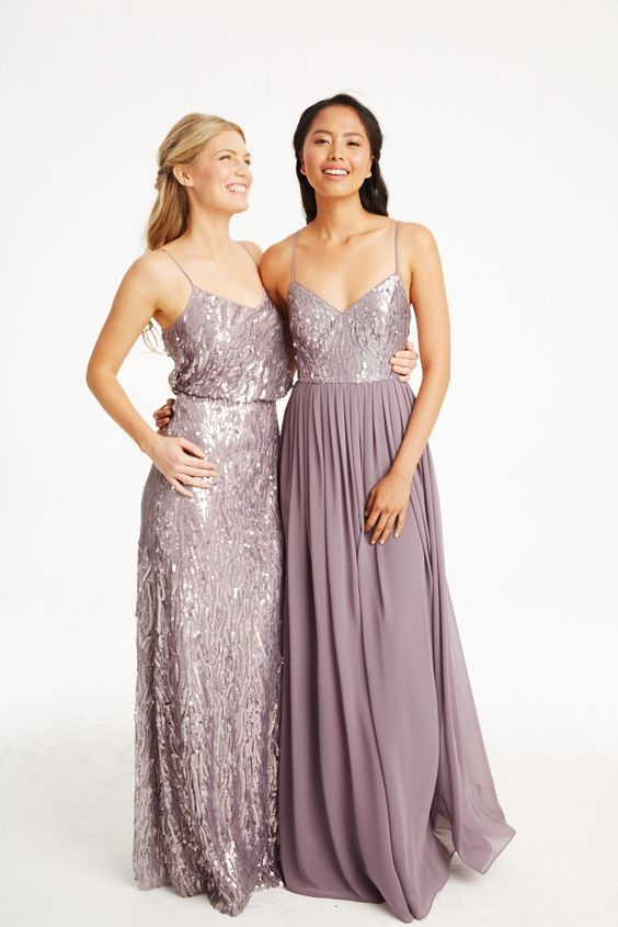 Donna Morgan Collection sequin gowns // Mix and match bridesmaids dresses // Lavender bridesmaids dresses // Courtney & Coco in Grey Ridge: