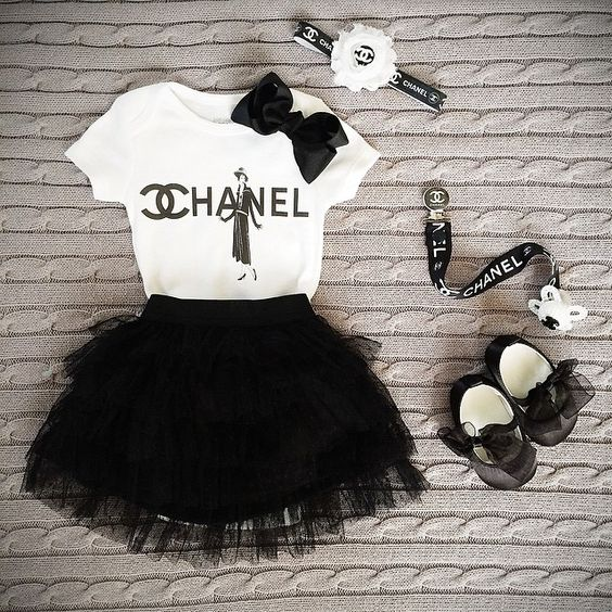 Chanel headband and binky black and white and chanel t