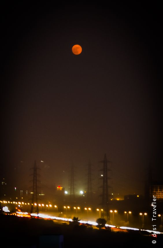 Supermoon in polluted Delhi