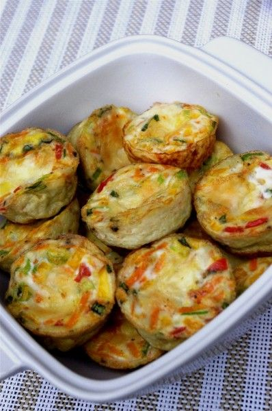 Egg Muffins - Olive Oil Spray (Pure Olive Oil) 4 scallions (or green onions), minced 2 carrots, shredded 1/2 red bell pepper, minced 14 egg whites 4 whole eggs 1/2 tsp basil 1 slice partly skimmed mozzarella cheese, or 1/4 cup shredded Dash of sea salt and pepper: