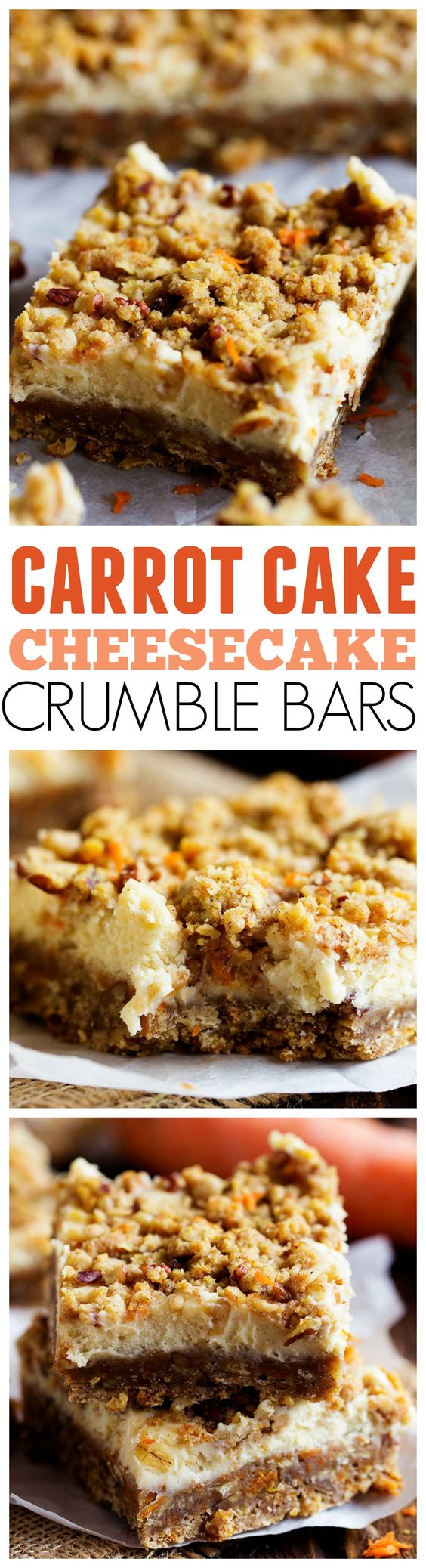 Carrot Cake Cheesecake Crumble Bars Dessert Recipe via The Recipe Critic - Amazing Carrot Cake Cheesecake Crumble Bars that will be one of the BEST desserts that you have!