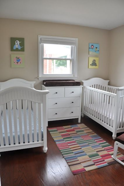 Soft And Colorful Boy And Girl Twin Nursery Furniture